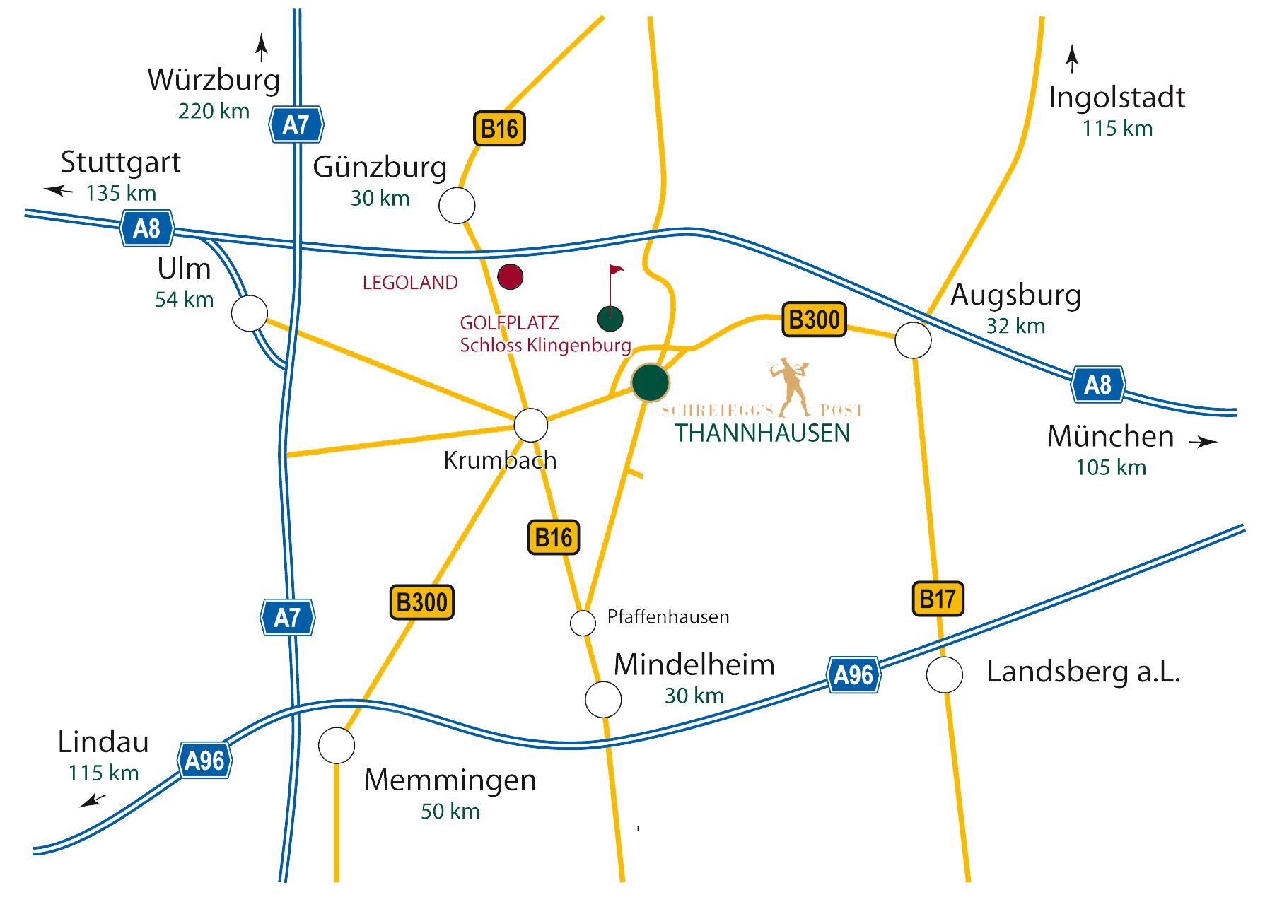 Location of the hotel between Augsburg and Ulm